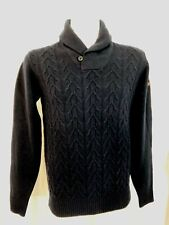 Ben Sherman Shawl Collar Lambswool Sweater Mens Blue Medium