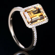Gold .2ct Real Diamond Halo Engagement Ring 9mm x 7mm Emerald Citrine 10K Yellow