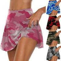 Women Camo Athletic Pleated Tennis Golf Skirt with Shorts Jogging Running Skorts