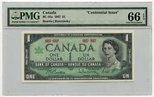 """1967 Bank of Canada $1 Note BC-45a PMG Gem UNC 66 EPQ """"Centennial Issue"""""""