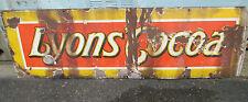 More details for vintage original enameled lyons cocoa advertising sign 60