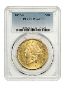 1895-S $20 PCGS MS62 PL - Pretty Mirrors! - Liberty Double Eagle - Gold Coin