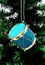 CHRISTMAS ORNAMENT MUSIC INSTRUMENT. DRUM INSTRUMENT ORNAMENT.BLUE & SILVER