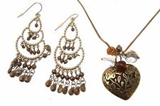 Brown Necklace and Earrings Heart Pendant Necklaces For Women 113939