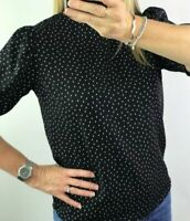 Ex Next Womens Ladies Black Spotted Gathered Sleeve Shell Blouse Top Size 6-18