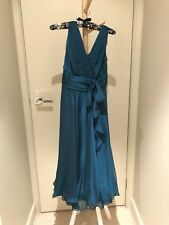 Peacock green chiffon formal dress with pleats. size 8-10