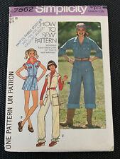 Simplicity 7562 Jumpsuit Flightsuit Coveralls Romper  Vintage 1976 12 Uncut