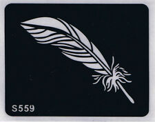 Tattoo decal stencil body jewllery self adhesive multiple motif feather S559