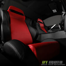 Passenger Right Side Thunder Reclinable Racing Seat w/Slider Red/Blk PU Leather