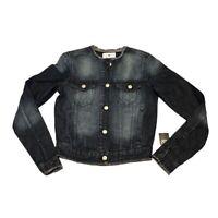NWT Black Daisy Jean Jacket Denim Junior's XS Frayed Distressed Dark Wash NEW
