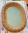 Vtg Wicker Mirror Vintage Oval Wall Home Decor Natural Rattan Basket 16 x 12