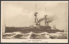 "Royal Navy Postcard. Battleship HMS Bellerophon. Rare ""Bas-Relief"" PC by Scopes"