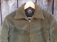 RARE Vtg 70s 80s Cabot Green Thin Corduroy Jacket Thick Retro Slim Zip Up Size S