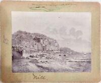 AUTHENTIC ANTIQUE ALBUMEN 1800s PHOTOGRAPH PHOTO TOWN CITY ITALY OCEAN IMAGE