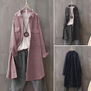 ZANZEA UK Women Casual Loose Corduroy Trench Coat Collared Top Shirt Blouse Plus
