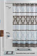 NEW 15PC BLUE DESIGN BATHROOM BATH MATS SET RUG CARPET SHOWER CURTAIN #2