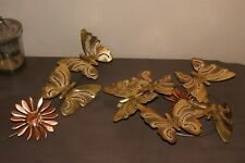 Vintage Metal Butterfly Flower Wall Hanging Brass Copper Sculpture Decor