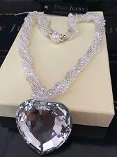 Ladies Designer Silver Beaded Necklace Crystal Heart Pendant Jewellery Gift UK