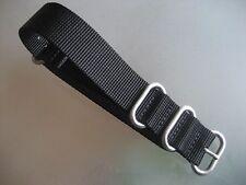 Zulu Strap Nylon Uhrenarmband schwarz Rundringe 22 mm Natoband Edelstahl matt