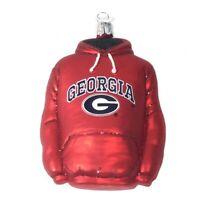 University of Georgia Bulldogs Hoodie Shirt Glass Christmas Ornament New