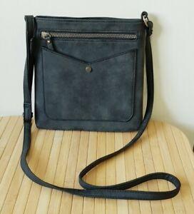 Women's Crossbody Handbag Black Charcoal Grey Zip Very Good Condition Atmosphere