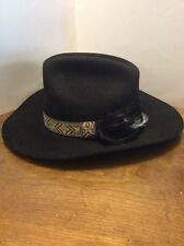 Dynafelt Western Cowboy Hat Size 7-1/8 Wool Fur Blend Black Feathers Band