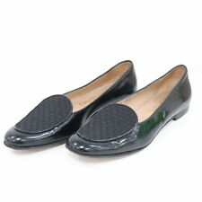 Salvatore Ferragamo Loafers Flats Womens 7.5 4A Black Leather Woven Shoes