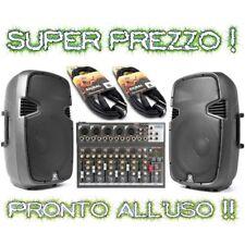 IMPIANTO AUDIO ATTIVO COMPLETO:  2 casse amplificate + 1 mixer 7 ch. + 2 cavi