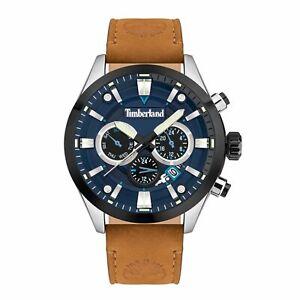 "Timberland ""Tidemark"" Black/Blue Dial Tan Leather Watch TDWJF2001901"
