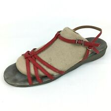 d2050097220 New ListingVintage Famolare Size 9.5 Red Wavy Sole Platform low Wedge  Sandals Leather