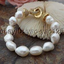 K060114  8'' White Baroque Pearl Bracelet CZ Clasp