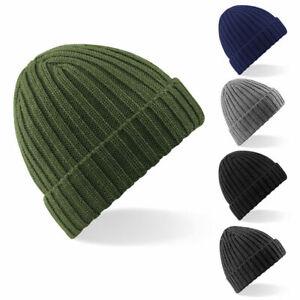 Knit Chunky  Ribbed Beanie Beechfield Heavy Ribbed Hat Winter Warm Cap