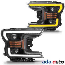 [Anti-fog] 2018 2019 Ford F150 F-150 LED Tube Black Projector Headlights Pair