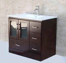 "36"" Bathroom Vanity 36-inch Cabinet Ceramic Top Sink + Faucet & Drain M3621"