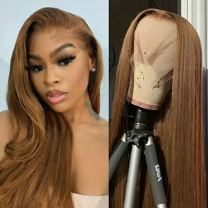 Lace Front Human Hair Wigs Straight T Part Lace Wig Remy Pre Plucked Brown Wigs