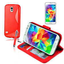 RED Wallet & Gel 4in1 Accessory Bundle Kit Case Cover For Samsung Galaxy S5