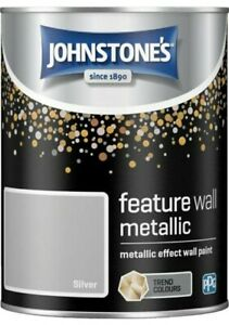 Johnstones Silver Metallic Effect Feature Wall Paint 1.25L