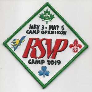 """2019 3""""x3"""" SCOUTS CANADA CAMP OPEMIKON RSVP CAMP MAY 3 - MAY 5 Badge Patch"""