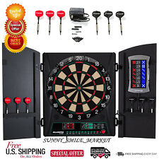 Electric Dart Board With Cabinet Wall Mount Target 34 Games Set Cricket Darts