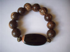 NEW ELONGATED OVAL FIRE AGATE & WOOD BEADED BRACELET,  BUY 2 GET 3RD FREE