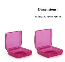 Brand New Tupperware Sandwich Salad & Snacks Keeper Square Pink Color (Set of 2)