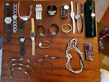 Lot of 23 Vintage & New Ladies watches, bracelets,  necklace. (16 watches)