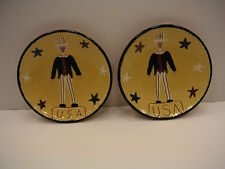 TWO FOLK ART POTTERY BOWLS WITH UNCLE SAM AND U.S.A. FROM FAIRFIELD