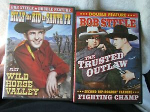 """2) BOB STEELE DOUBLE FEATURES """"BILLY THE KID IN SANTA FE """"/ """"THE TRUSTED OUTLAW"""""""