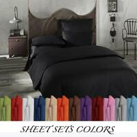 1800 BED SHEET SET 4PC QUEEN CAL KING FULL SIZE SOLID COLORS MICROFIBER SHEETS