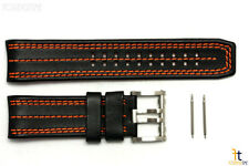 Luminox 1128 Tony Kanaan 26mm Leather Black / Orange Watch Band Strap 1120