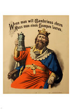 VINTAGE GERMAN beer advertising poster KING TOASTING 24X36 rare exceptional