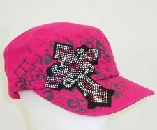NWT Pink w Black Silver Distress Cross Rhinestone Cross Cadet Hat Women & Junior