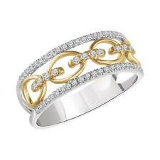 14k White and Yellow Gold Diamond Link Ring Size 7