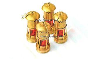 Nautical Vintage Brass Minor Oil Lamp Antique Nautical Ship Lantern Lot Of 4 Pcs
